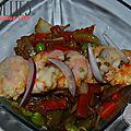 Crevettes et légumes aux wok