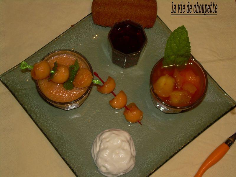 Verrine mousse de melon salade de fruits frais quand choupette et papoune cuisinent - Quand cueillir un melon ...