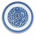 A rare blue and white 'dragon' dish, kangxi six-character mark and of the period (1662-1722)