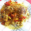 Tajine de poulet aux poivrons, aux abricots et aux amandes