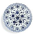 A fine and rare blue and white barbed 'floral scroll' dish, Ming dynasty, Yongle period (1403-1425)