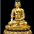 A magnificent and exceptionally large gilt-bronze figure of Shakyamuni Buddha Ming dynasty, <b>15th</b>-<b>16th</b> <b>century</b>