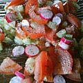 Salade de tomate, concombre et radis au pavot ce