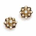 Paire de <b>clips</b> <b>d</b>'<b>oreilles</b> étoiles en or jaune, diamants taillés en brillant et perles fines