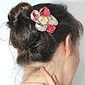 <b>Barrettes</b> fleurs kanzashi japonaises en tissus