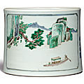 A rare <b>famille</b>-<b>verte</b> 'landscape' brushpot, Kangxi period, dated Renchen year, corresponding to 1712