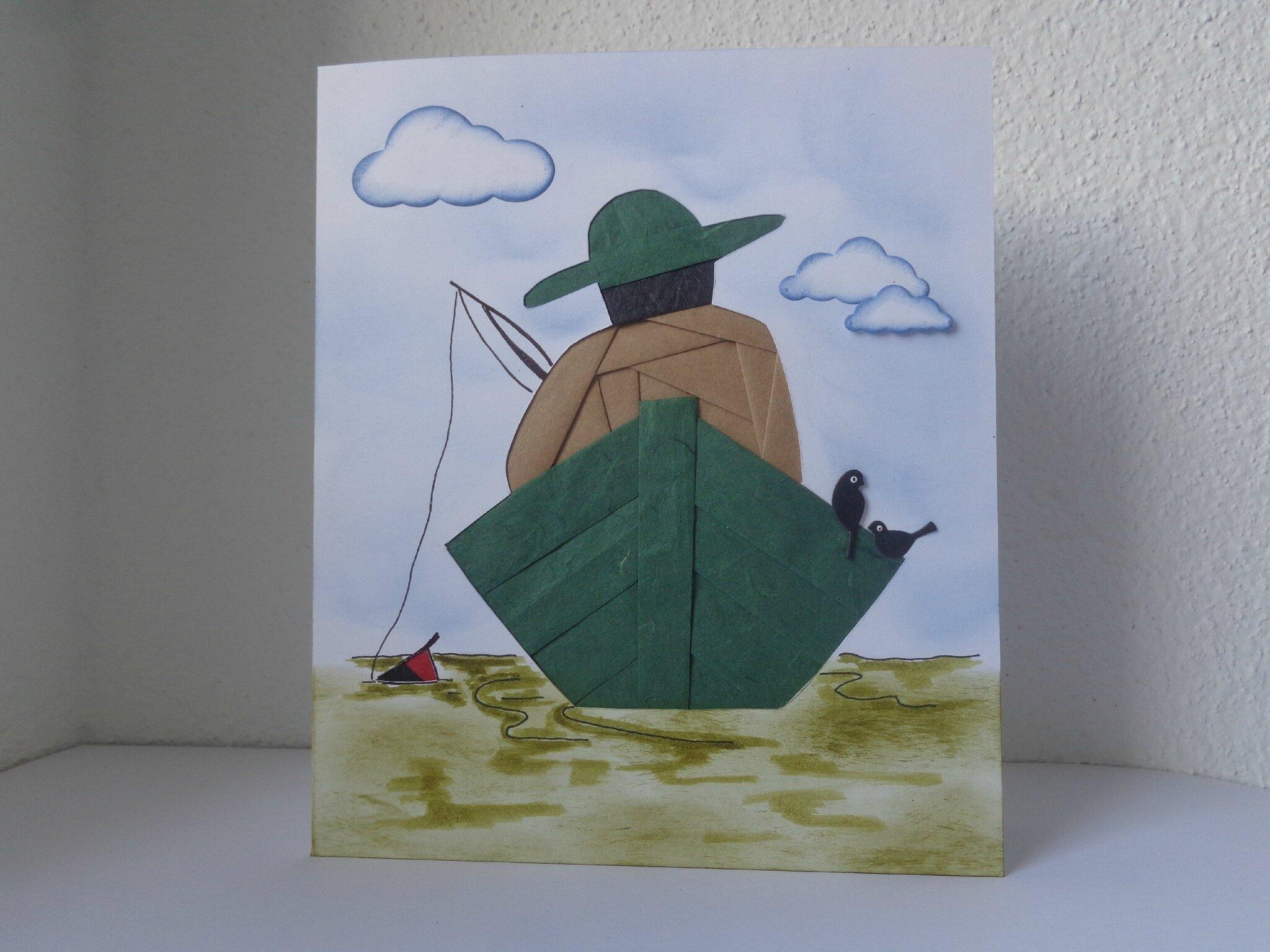 """Carte iris folding """"le pêcheur"""""""