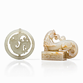 Two <b>Pale</b> <b>Celadon</b> <b>Jade</b> Carvings of a Seal and a Pendant, China, Qing dynasty (1644-1912) or slightly later