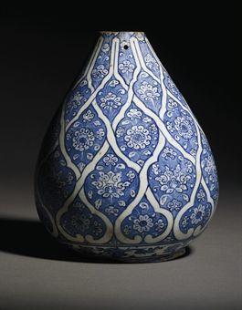 An Iznik Blue And White Pottery Bottle Vase Ottoman