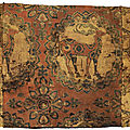 A fine silk samite fragment with deer, Central Asia, <b>Sogdiana</b>, 8th-9th century