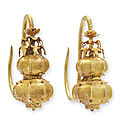 A pair of gold 'lantern' <b>earrings</b>, erhuan, Ming dynasty style