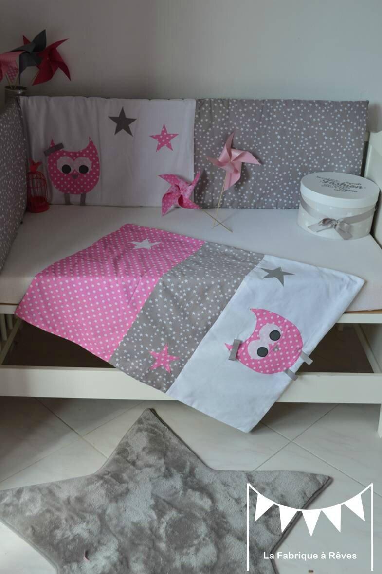 linge lit couverture polaire coton bébé fille hibou chouette rose gris blanc étoiles pois 3