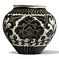 A small and rare '<b>Cizhou</b>' <b>sgraffiato</b> 'peony' jar, Northern Song dynasty (960–1127)