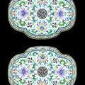 A pair <b>of</b> Chinese Imperial porcelain fencai quatrefoil lobed tea trays. <b>Six</b>-<b>character</b> <b>sealmark</b> <b>of</b> <b>Qianlong</b> <b>in</b> <b>iron</b>-<b>red</b>