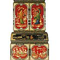 An Italian Chinoiserie Lacquered And Parcel-Gilt <b>Bureau</b> <b>Cabinet</b> by Luigi Zampini and dated 1861, Florentine