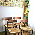 Chaises en teck et paille design scandinave