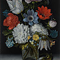 <b>Ambrosius</b> <b>Bosschaert</b> <b>the</b> <b>Elder</b>, A still life of flowers in a glass flask on a marble ledge, flanked by a red admiral buttefly...