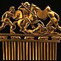 Scythian culture, Comb with <b>battle</b> <b>scene</b>, 490-390 BC