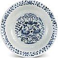 A blue and white 'mandarin <b>duck</b>' <b>bowl</b>, Yuan dynasty