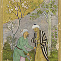 A manuscript of the Gulistan (Rosegarden) by Sa'di; Sa'di in a Rose garden. <b>Govardhan</b>. Reign of Shah Jahan. India and Iran
