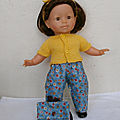 Tenue d'écolière version jaune et bleue pour ma poupée corolle
