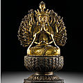 A large gilt-bronze figure of a multi-armed Avalokitesvara, Ming dynasty, <b>16th</b> <b>century</b>
