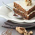 <b>Gâteau</b> aux <b>noix</b> et crème mascarpone au café.