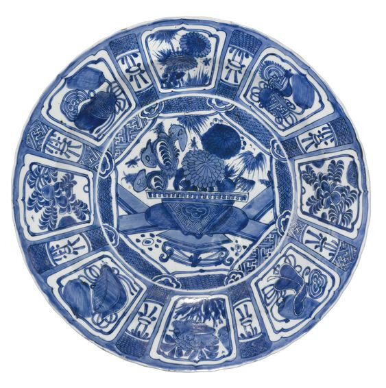 Lot 60. A large blue and white 'Kraak' dish, Ming dynasty, late 16th-early 17th century; 49.8 cm., 19 5/8 in., diam. Estimate 3,000—5,000 GBP. Lot Sold 4,750 GBP. Photo Sotheby's 2011.