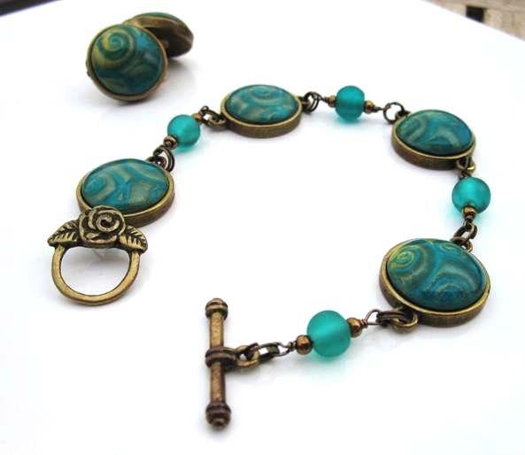 braceletmokume turquoise