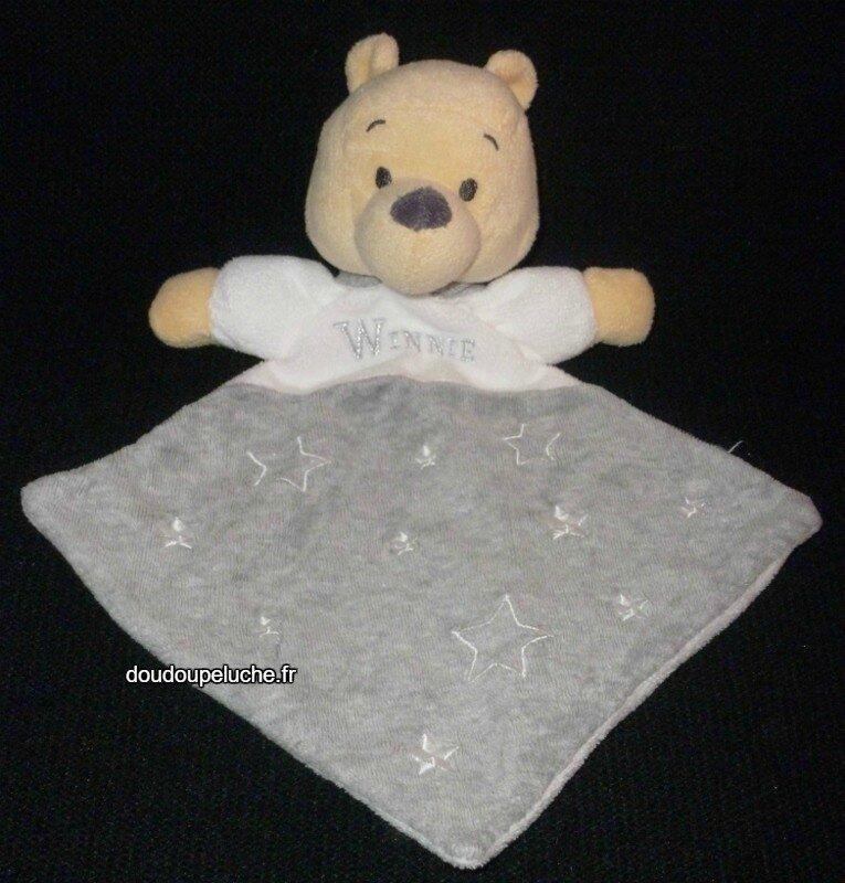 Doudou peluche ours Winnie Nicotoy ,forme losange,gris blanc,étoiles