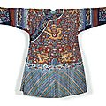 An embroidered rust-coloured gauze summer court robe, jifu, china, qing dynasty, 19th century