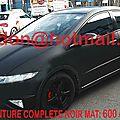 HONDA CIVIC, peinture <b>carrosserie</b> automobile, <b>carrosserie</b> auto Total covering noir mat, peinture covering noir mat, covering ja