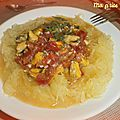 Courge spaghetti aux moules, tomates, ail et coriandre