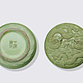 A carved lime green glazed porcelain seal paste box and cover, wang bingrong, 19th century