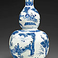 A blue and white double-gourd vase, Transitional period, circa <b>1635</b>-40