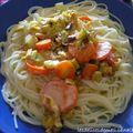 Pâtes à la fondue de poireaux et carottes