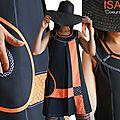Des Coeurs, des pois : un esprit Graphique créateur pour une robe trapèze Noire et Orange ISAmade ... Printemps été 2015.