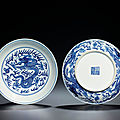 A fine pair of blue and white 'dragon' dishes, qianlong six-character seal marks and of the period (1736-1795)