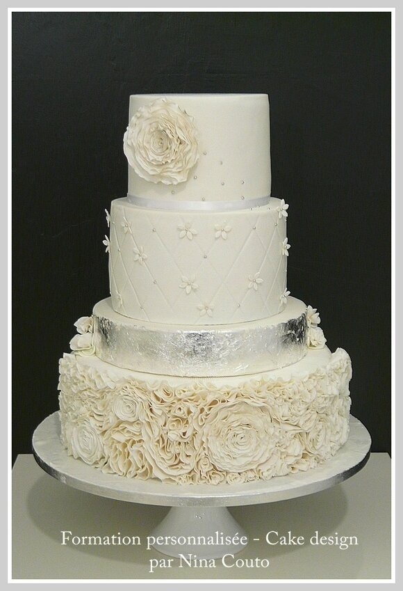 wedding cake blanc argent nimes Angelique 5jpg