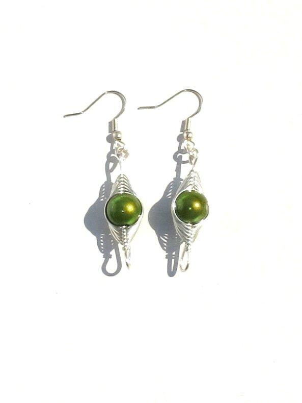 boucles d'oreille wire argent perle verte face