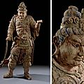 A large painted <b>wood</b> <b>figure</b> of a Guardian King, Song-Yuan dynasty, 13th-14th century