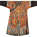 A Chinese <b>brown</b>-ground embroidered 'dragon' <b>robe</b>, jifu, Qing dynasty