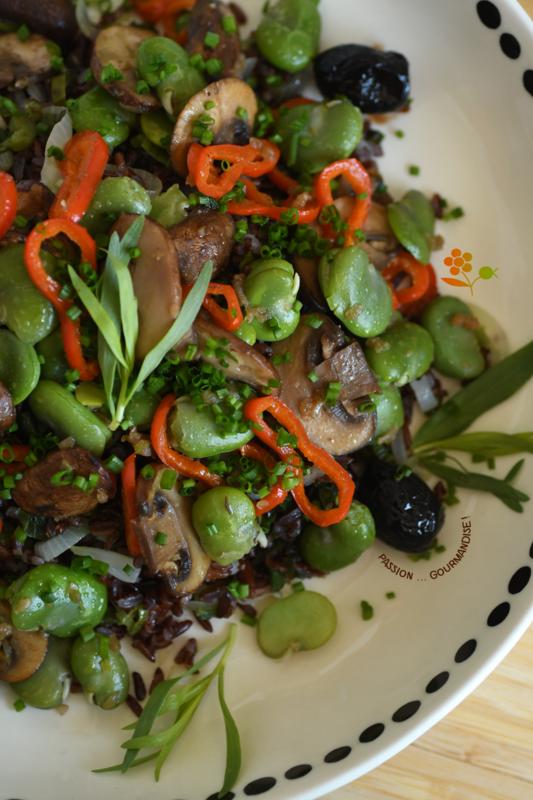 Salade riz rouge, fèves, champignons de Paris, poivron, oignon_4
