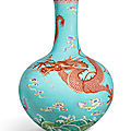An Extremely Rare Turquoise-Ground Yangcai '<b>Dragon</b>' <b>Vase</b>, Tianqiuping, Seal Mark and Period Of Qianlong (1736-1795)