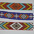 Bracelet Manchette Native American' ou Amérindien en perles tissées