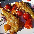 Queues de lotte sauce curry rouge + légumes de saison à la plancha à gaz