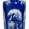 A good powder blue ground blue and white rouleau vase, china, kangxi period (1662-1722)