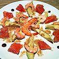 Salade fraîcheur avocat, crevettes et <b>suprêmes</b> de <b>pamplemousse</b> rose