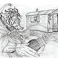 Dessin <b>crayon</b>: Illusion Tzigane ... dessin 2 en 1 .... effet d'optique