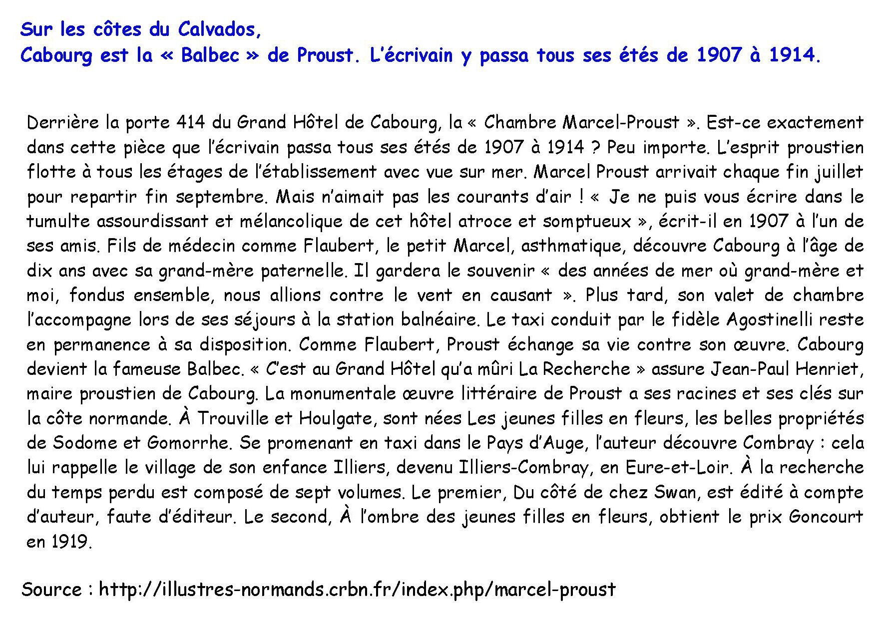 Marcel Proust commentaire